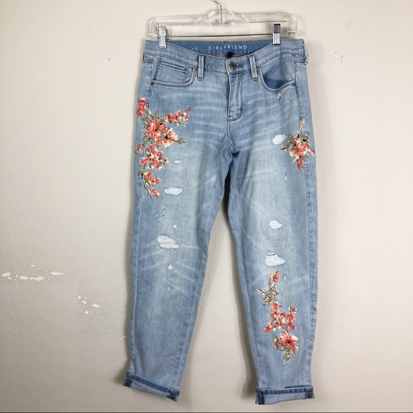 White House Black Market Denim - NEW listing | Embroidered Girlfriend Jeans